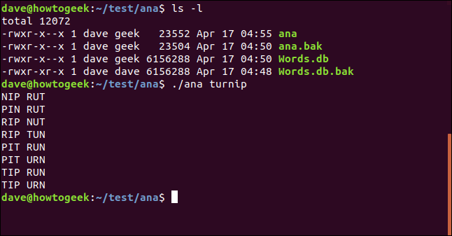 ls in /test/ana with test fo ana utility