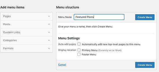 Enter your new menu name
