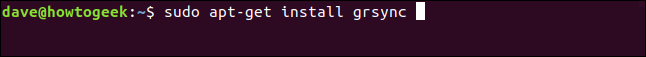 sudo apt-get install grsync in a terminal window