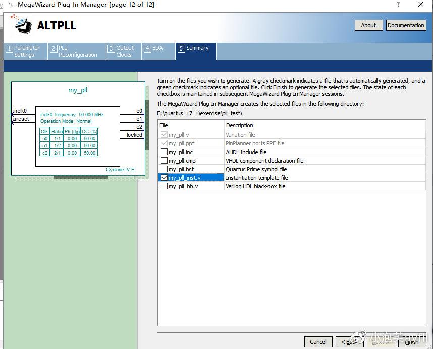 一直点击next到这个界面,选择my_pll_inst.v文件,这个是调用IP核的端口,然后点击finish