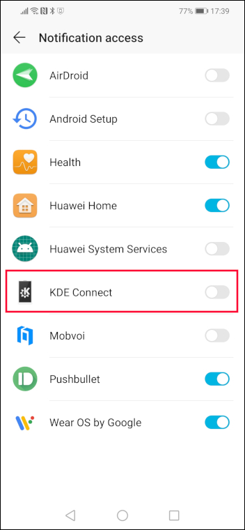Android Notifications access screen