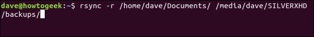 rsync -r /home/dave/Documents/ /media/dave/SILVERXHD/backups/ na terminal window