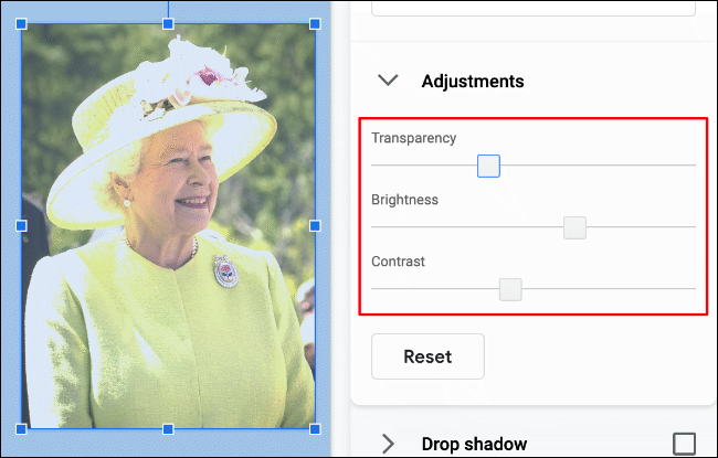 An example image of Queen Elizabeth II in Google Slides, with custom transparency, contrast and brightness levels applied