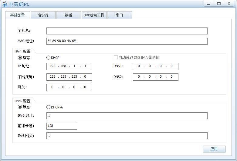 PC 的 IP 配置界面