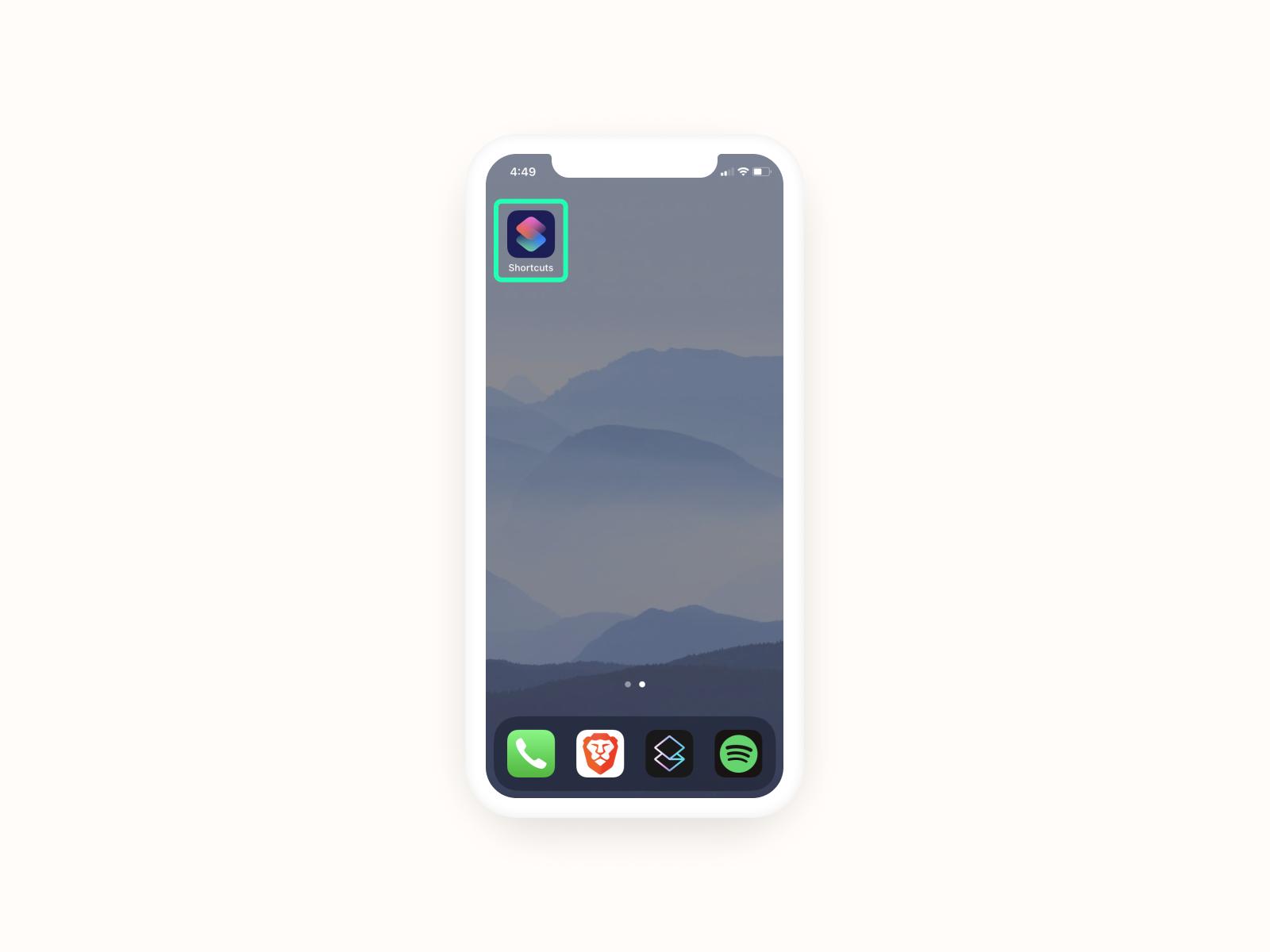 Open the Shortcuts app