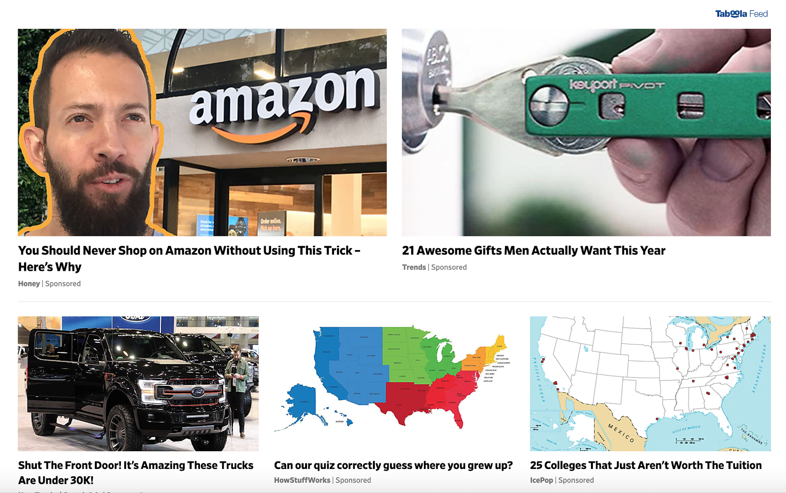 Sponsored article section of Slate's homepage.