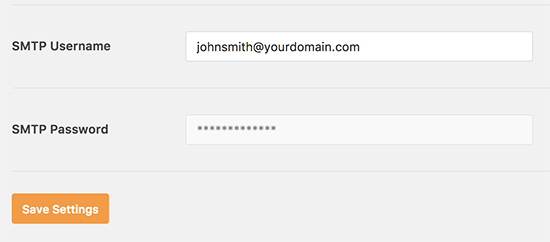 SMTP password disabled