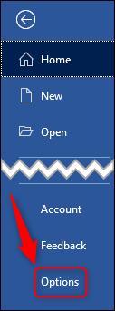 "The ""Options"" menu item"