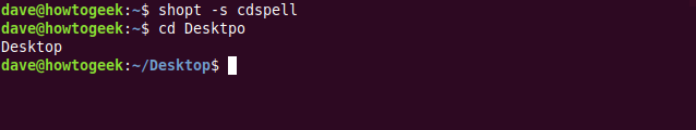 """The """"shopt -s cdspell"""" command in a terminal window."""