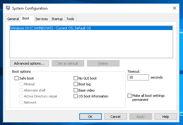 MSConfig Boot Tab
