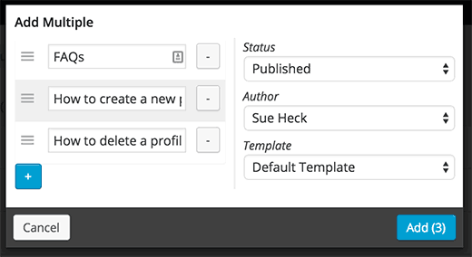 Adding multiple pages in nested pages