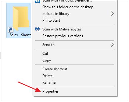 choose properties command on shortcut's context menu