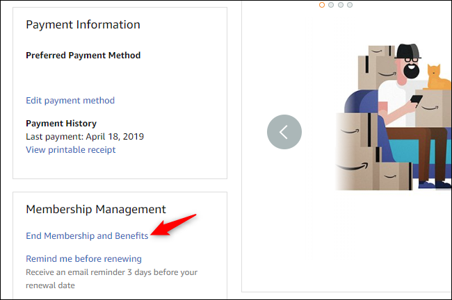 Option to end Prime membership benefits on Amazon.com