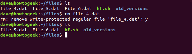 rm command with write-protected file