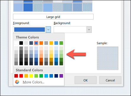 """Click """"Foreground,"""" and then select a color."""