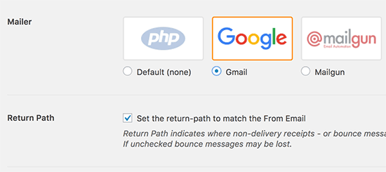 Select Gmail and set return path