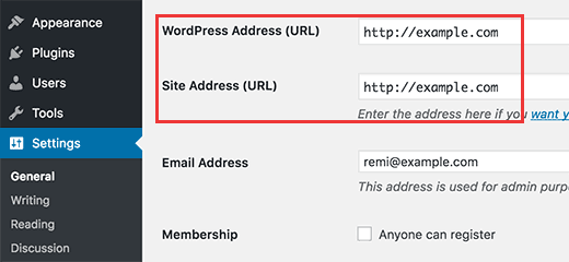 Changing WordPress Address and Site Address options from admin area
