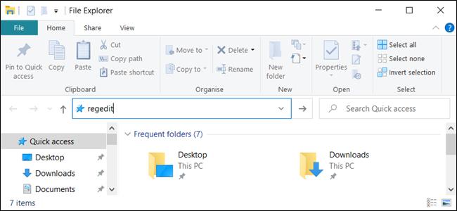 """""""regedit"""" in the address bar of """"File Explorer."""""""