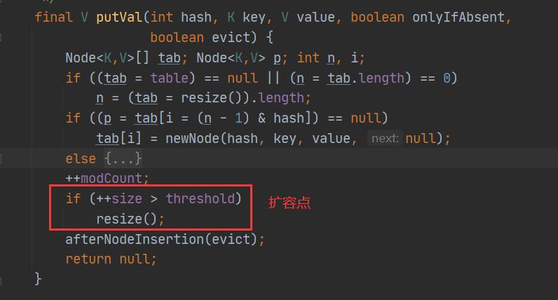 HashMap扩容点源码