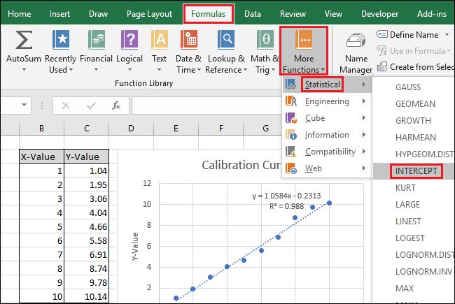 navigate to Formulas > More Functions > Statistical > INTERCEPT