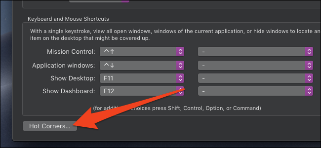 macOS hot corners button