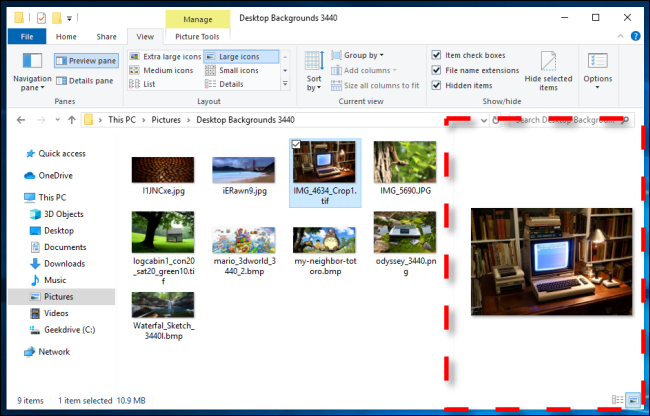 Example of Preview Pane in Windows 10 File Explorer