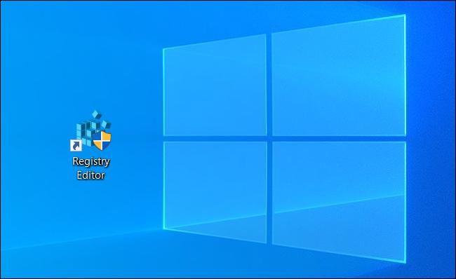 A Registry Editor shortcut icon on a Windows desktop.