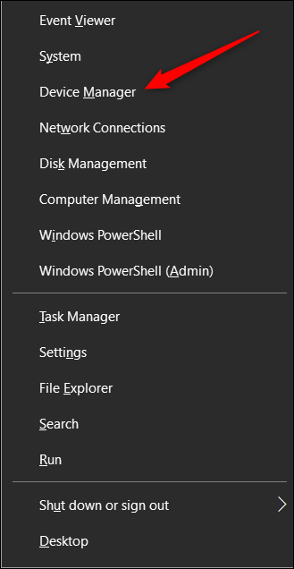 choose device manager from the power users menu