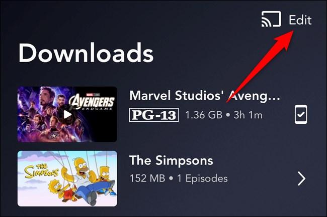 Disney+ App Tap Edit Button