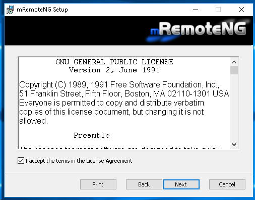 Accept mRemoteNG License