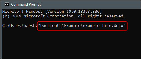 Enter file open command in one command