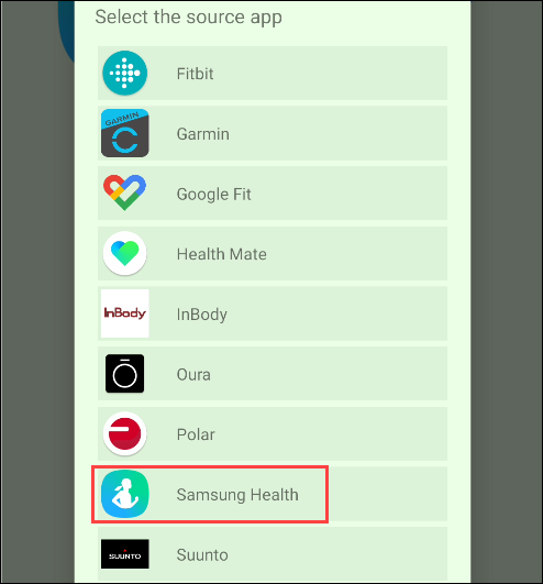 "Tap ""Samsung Health."""