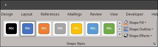 Shape styles for formatting shape