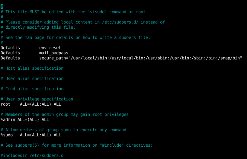 sudo Configuration File sudoers
