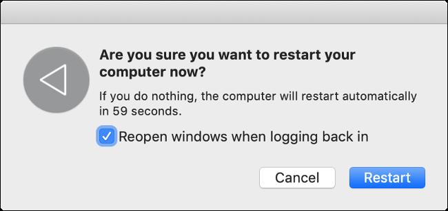 "The ""Restart Your Mac"" dialog."