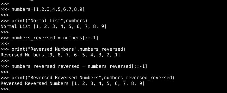 Reverse Using A List Using Slicing Operator