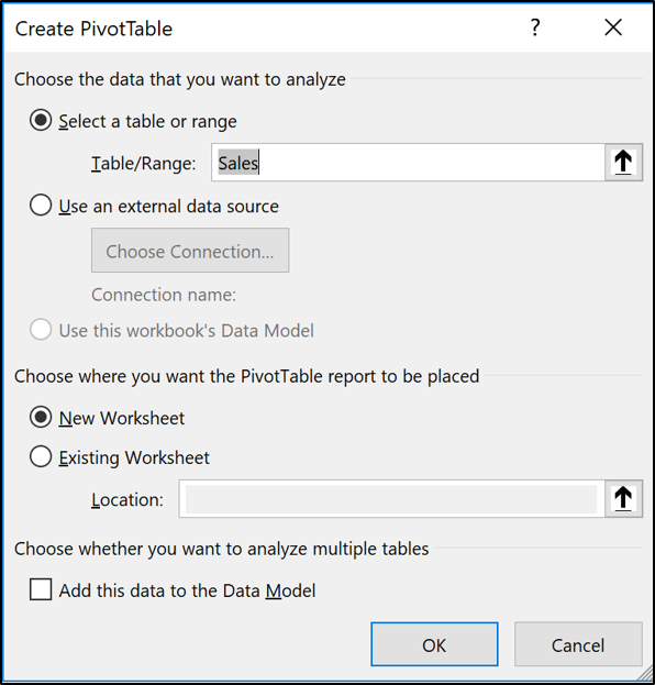 The Create PivotTable window