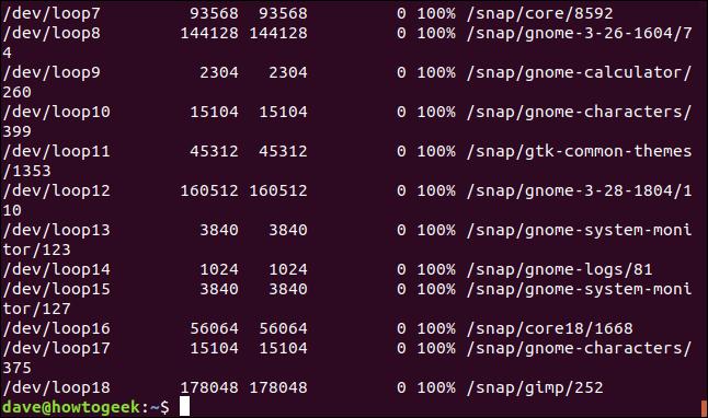 SquashFS file systems llisted in a terminal window.