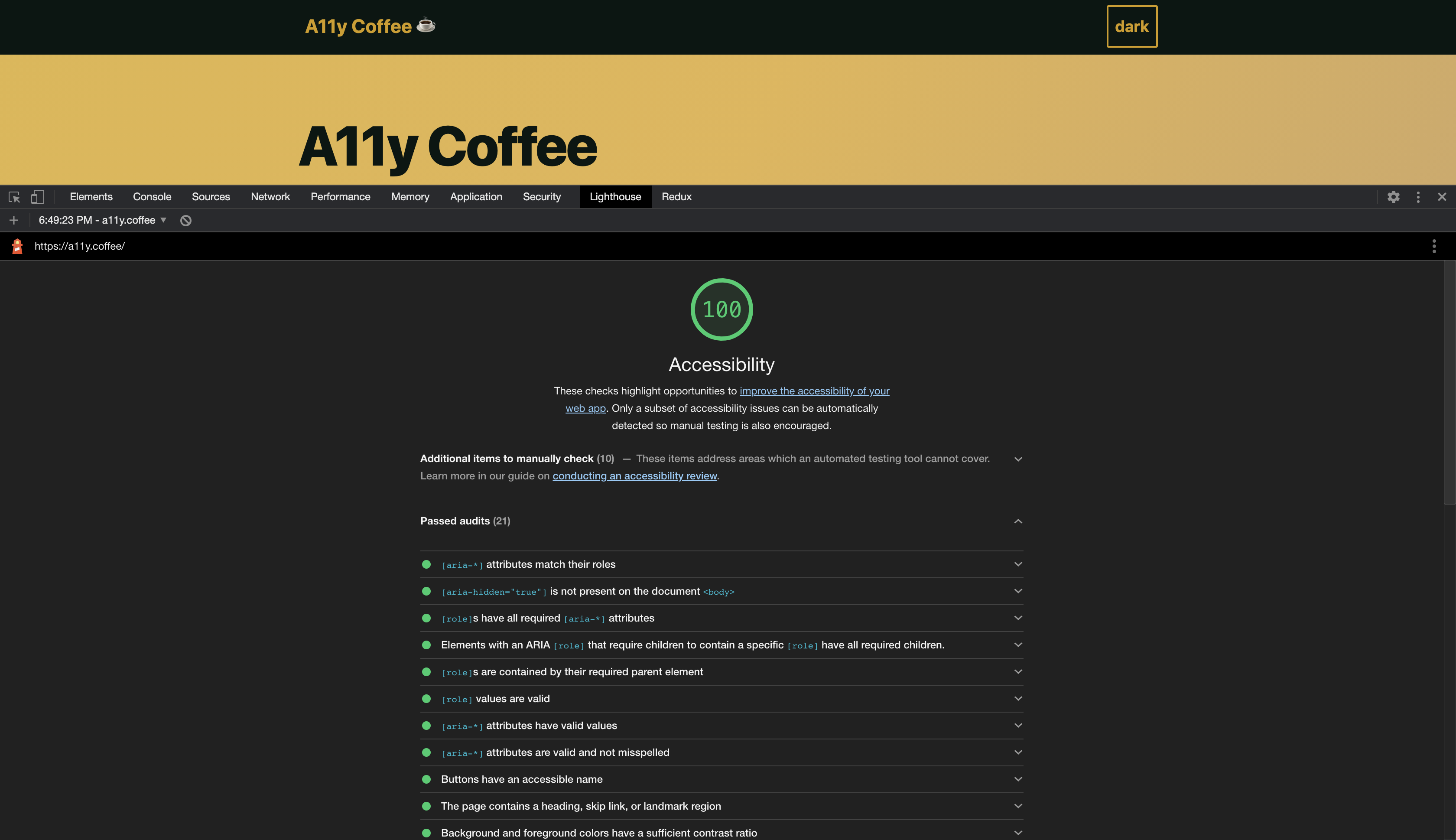 a11y.coffee's Lighthouse accessibility score of 100%