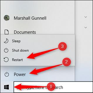 Restart PC from start menu