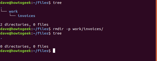 rmdir command with remove parents option