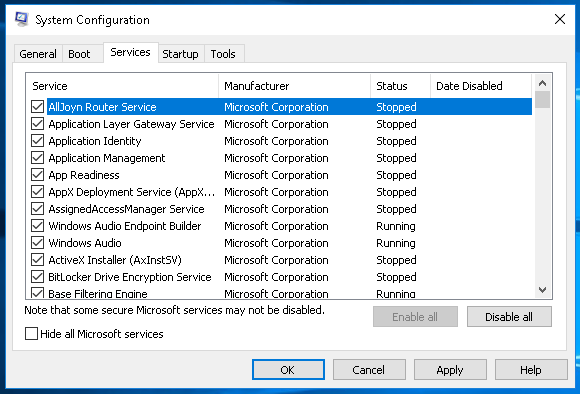 MSConfig Services Tab