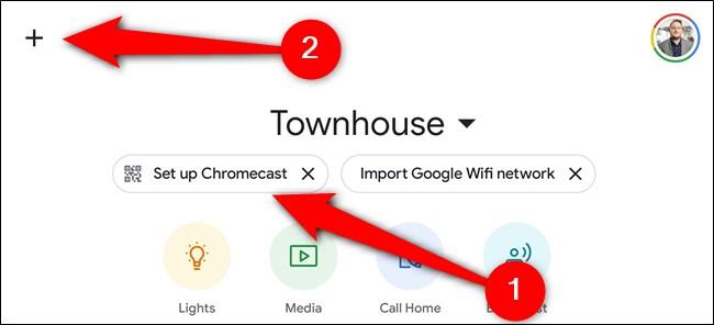 """اضغط على الزر """"إعداد Chromecast"""" أو حدد الرمز """"+"""""""