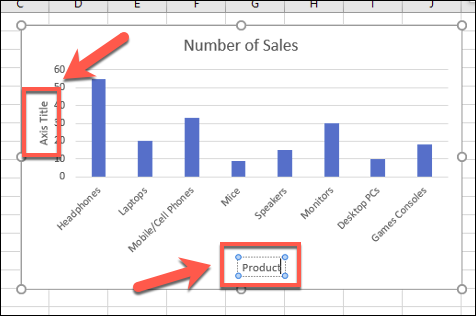 Axis labels shown on an example Excel bar chart