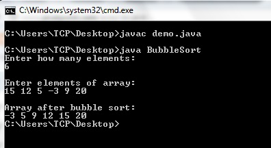 Bubble Sort Java Program