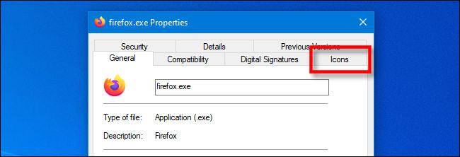 """In the EXE Properties window on Windows 10, click the special IconViewer """"Icon"""" tab."""