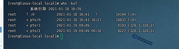 显示目前登录到系统的用户
