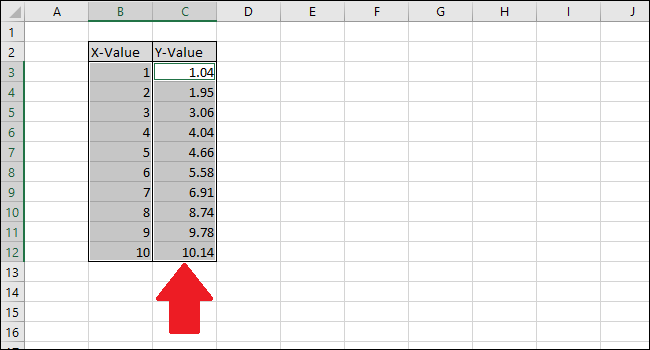 hold Ctrl while clicking the Y-value column