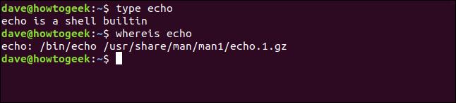 type echo in a terminal window
