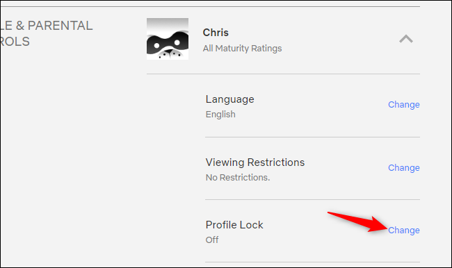 Accessing Profile Lock on Netflix's website